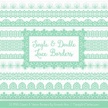 Mixed Lace Clipart Borders in Mint