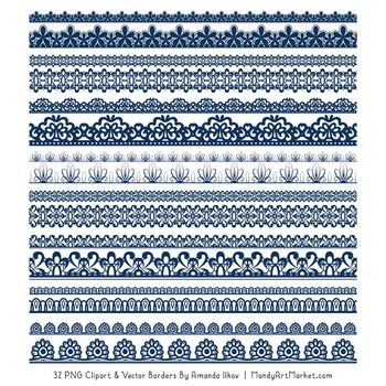 Mixed Lace Clipart Borders in Navy