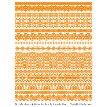 Mixed Lace Clipart Borders in Orange