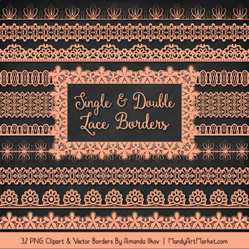 Mixed Lace Clipart Borders in Peach
