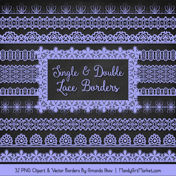 Mixed Lace Clipart Borders in Periwinkle