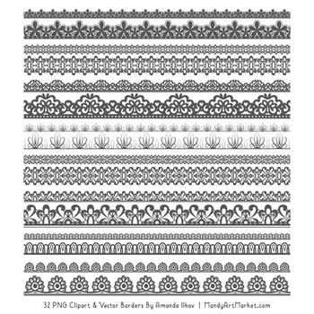 Mixed Lace Clipart Borders in Pewter