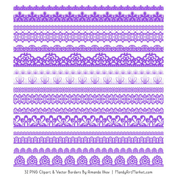 Mixed Lace Clipart Borders in Purple