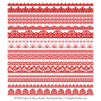 Mixed Lace Clipart Borders in Red