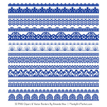 Mixed Lace Clipart Borders in Royal Blue