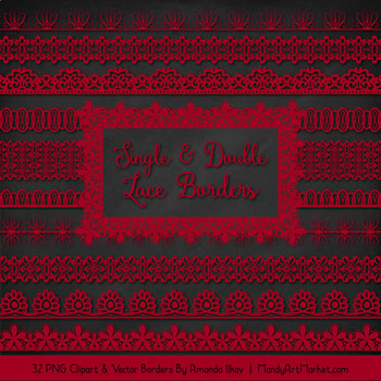 Mixed Lace Clipart Borders in Ruby