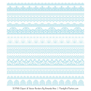 Mixed Lace Clipart Borders in Soft Blue