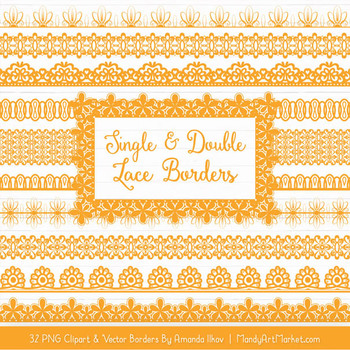 Mixed Lace Clipart Borders in Sunshine