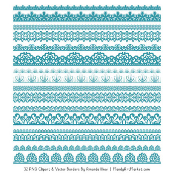 Mixed Lace Clipart Borders in Vintage Blue