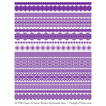 Mixed Lace Clipart Borders in Violet