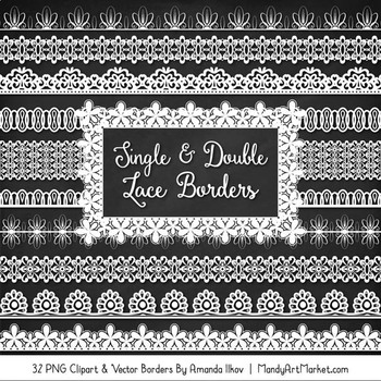 Mixed Lace Clipart Borders in White
