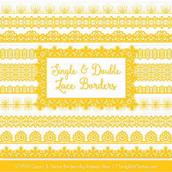 Mixed Lace Clipart Borders in Yellow