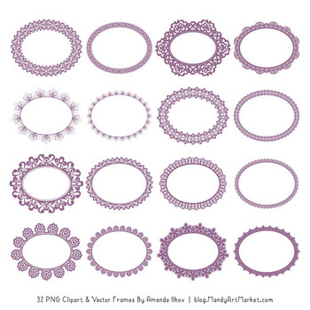 Mixed Lace Round Frames in Amethyst
