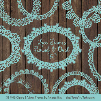 Mixed Lace Round Frames in Aqua