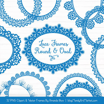 Mixed Lace Round Frames in Blue