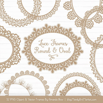 Mixed Lace Round Frames in Champagne