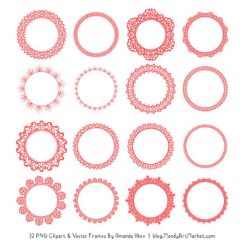 Mixed Lace Round Frames in Coral