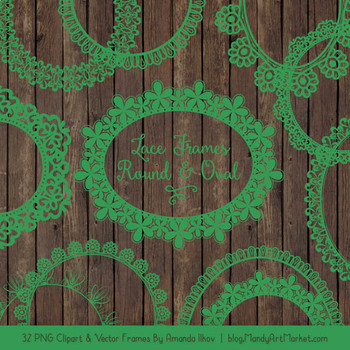 Mixed Lace Round Frames in Green