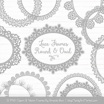 Mixed Lace Round Frames in Grey