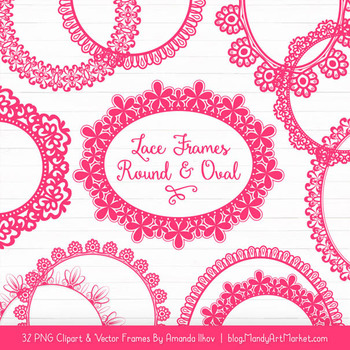 Mixed Lace Round Frames in Hot Pink