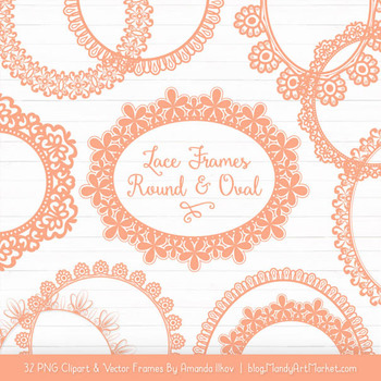 Mixed Lace Round Frames in Peach