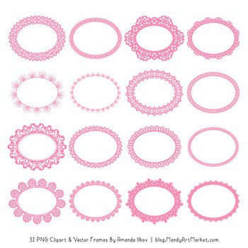 Mixed Lace Round Frames in Pink