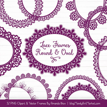 Mixed Lace Round Frames in Plum