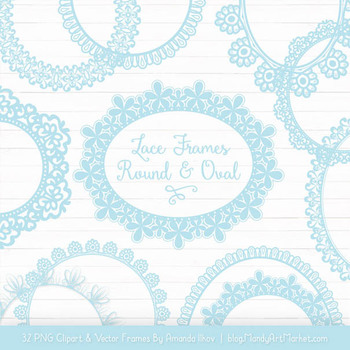Mixed Lace Round Frames in Soft Blue