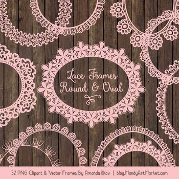 Mixed Lace Round Frames in Soft Pink