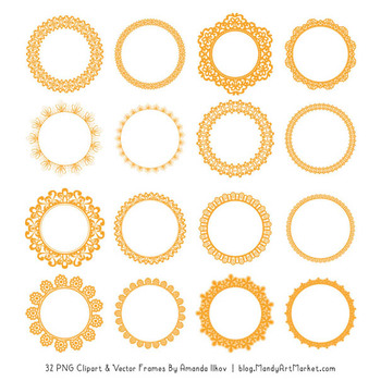 Mixed Lace Round Frames in Sunshine