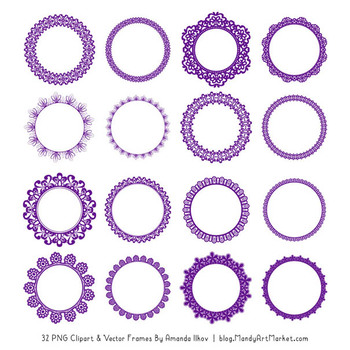 Mixed Lace Round Frames in Violet