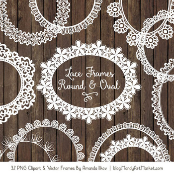 Mixed Lace Round Frames in White