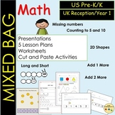 Mixed Math Bag Counting Ordering 2D Shapes Lengths One More Than AND MORE