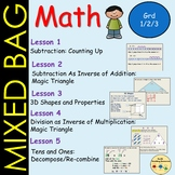 Mixed Math Subtraction Inverse Operations Fact Family 3D Shapes Place Value
