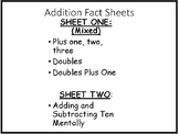 Mixed Math Facts Sheet--Bonus: Adding and Subtracting 10 Mentally