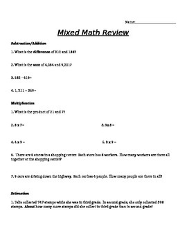 3rd/4th Grade Mixed Math Review With Answer Key
