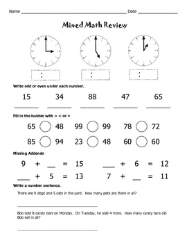 Mixed Math Review Worksheets / Math Worksheets / 2nd Grade / 3rd Grade