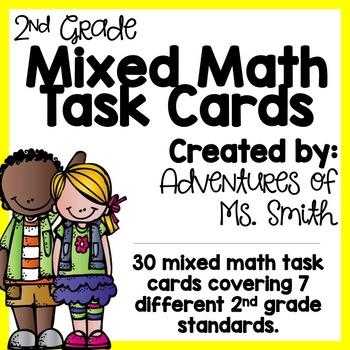 Mixed Math Task Cards: 2nd Grade Math Review