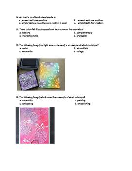 Mixed Media Final Exam-techniques, color schemes, Elem.and Principles of Design