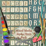 Mixed Media Printable Digital Alphas and Embellishments