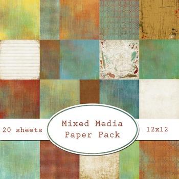 Mixed Media Printable Digital Paper