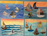Beginner Mixed Media: Sailboat Collage on Watercolor with Oil Pastel