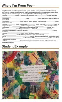 "Mixed Media Project -based on ""Where I'm From poem"" template - Art & ELA"