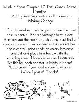 Money Task Cards- Add, Subtract, Make Change- Chp 10 Math in Focus 3rd grade