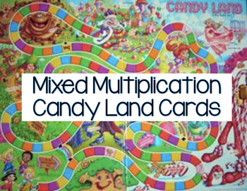 Mixed Multiplication Candy Land Cards