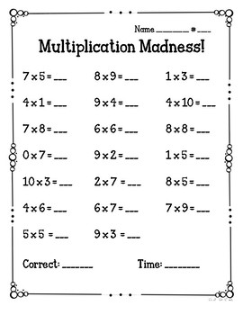 Mixed Multiplication Madness Fact Fluency Quizzes