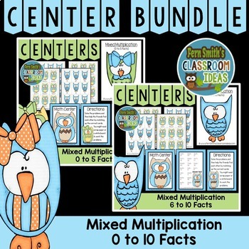 Mixed Multiplication Math Center Games Bundle of 0 to 10 Multiplication Facts