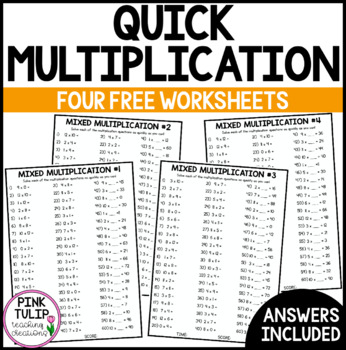 Mixed Multiplication Times Table Worksheets - Mental Maths or Early Finisher