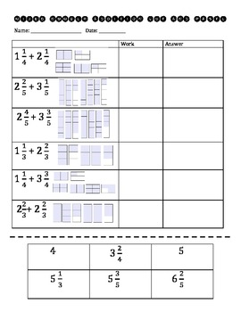 Mixed Number Addition Cut and Paste