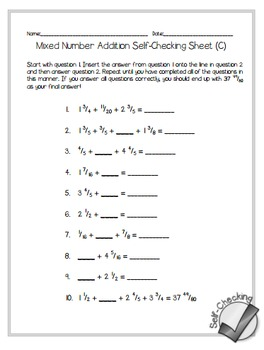 Mixed Number Addition Self-Checking Worksheets - Differentiated